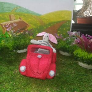 Conejo coche rojo